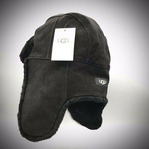 UGG Leather + Shearling Trapper Hat   | NWT